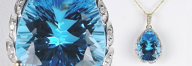 Fantasy-cut Blue Topaz Pendant
