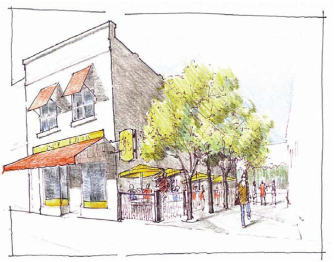 Outdoor dining concept based on a downtown Emporia building