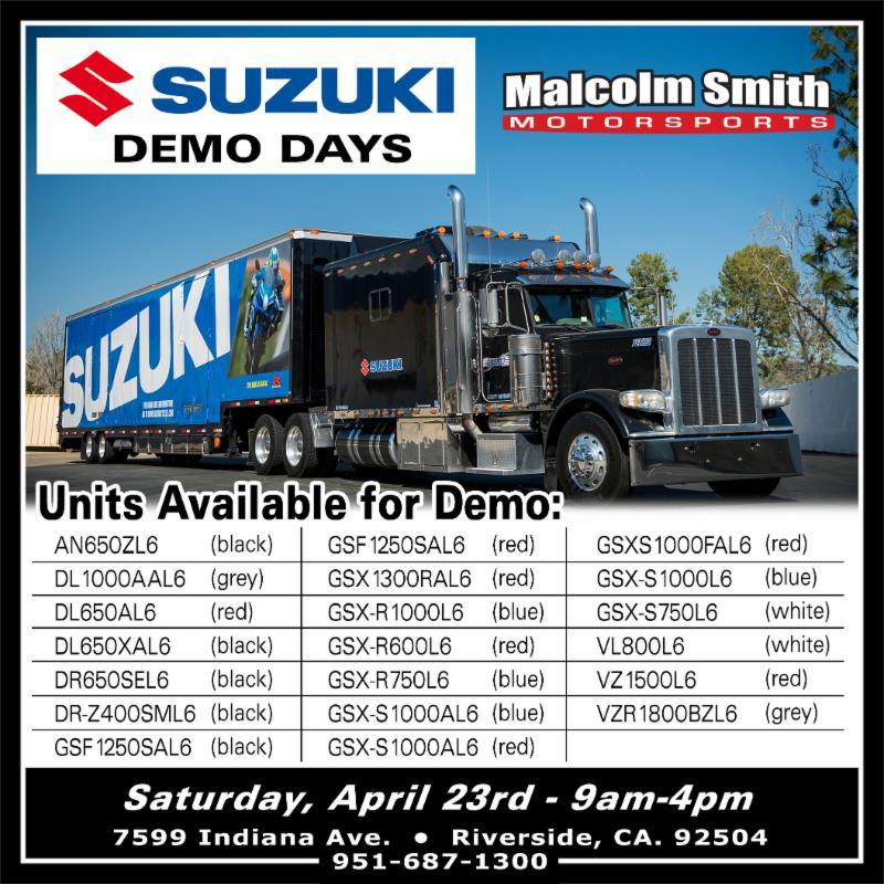 suzuki demo days @ malcom smith motorsports (4/23) - irvine