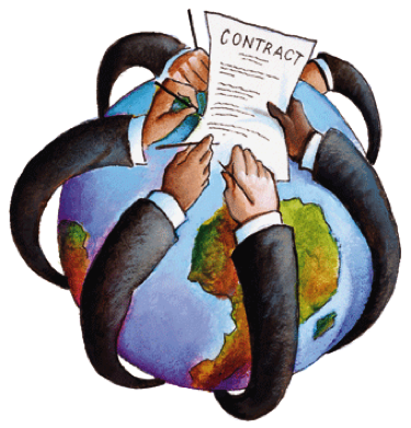 arms reaching around the world signing a contract, illustration