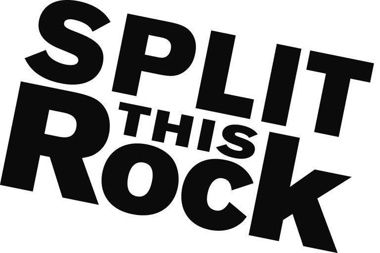 Split This Rock Logo. The words Split This Rock are in black and white and slanted in front of a white background.