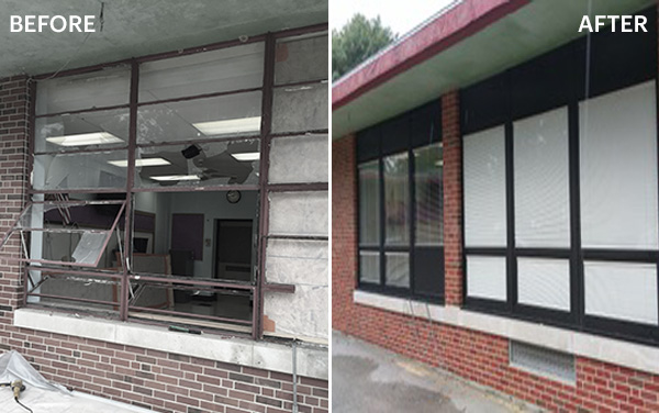 Before and after of windows (vandalism) - Sister Thea School