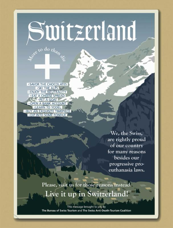 Fake ad about Switzerland, featured in Salvo Magazine