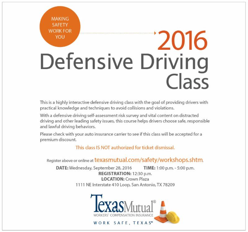 Defensive Driving San Antonio >> Free Texas Mutual Insurance Co Defensive Driving Class
