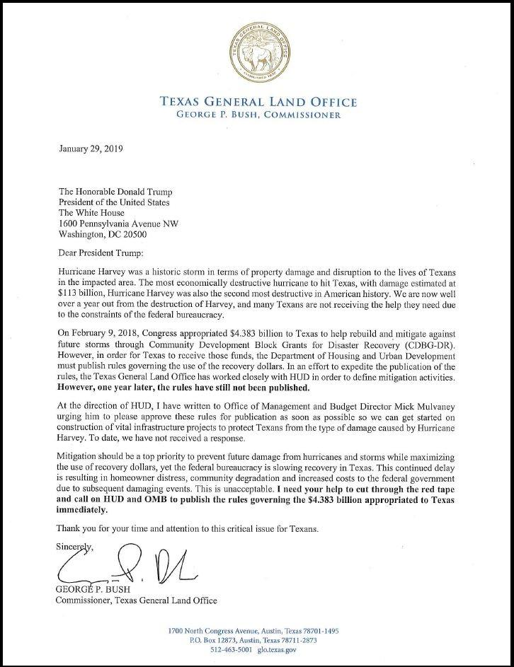 Cmr George P Bush Sends President Donald J Trump Letter