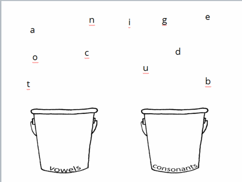 Buckets and letters