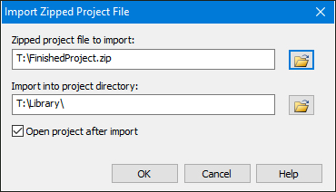 Import Zipped Project File