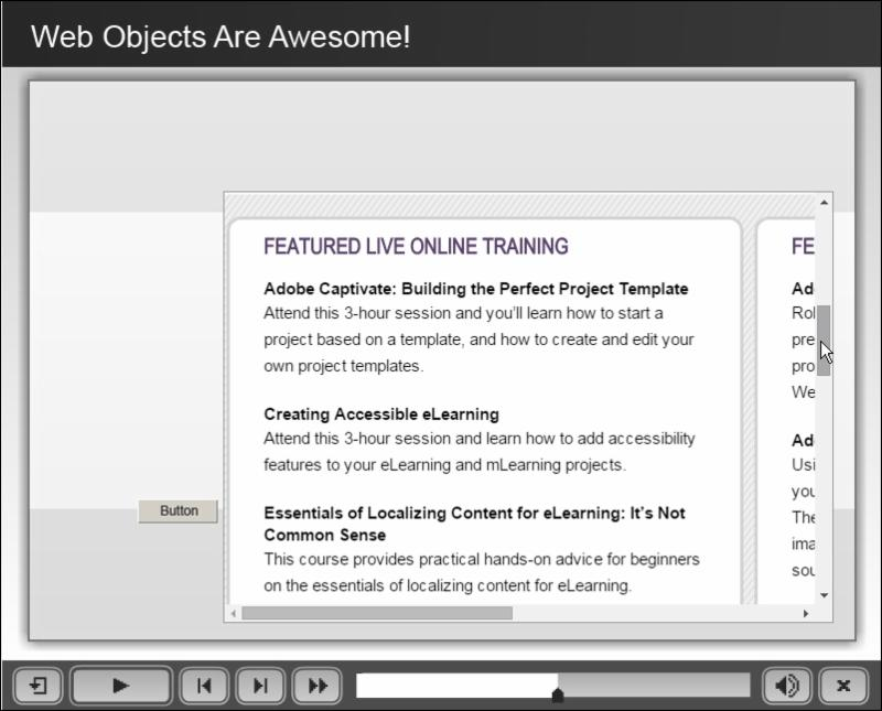 Web object via a web browser (notice you can allow the learner to scroll around the web object.