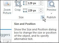 Size drop-down menu