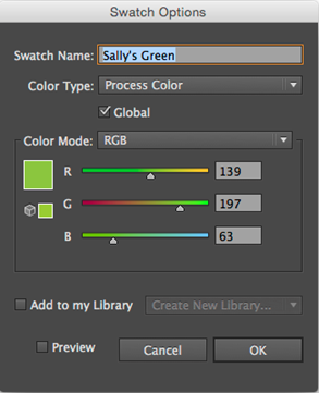 Swatch Options dialog box