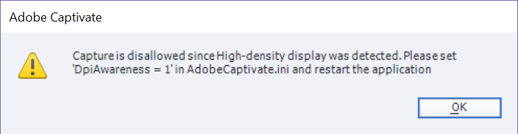Adobe Captivate INI alert.