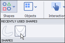 Custom shapes available in the Shapes menu