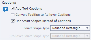 Adobe Captivate: Use Smart Shapes instead of Captions.