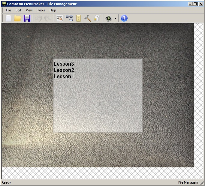 Camtasia: Menu prior to customization.