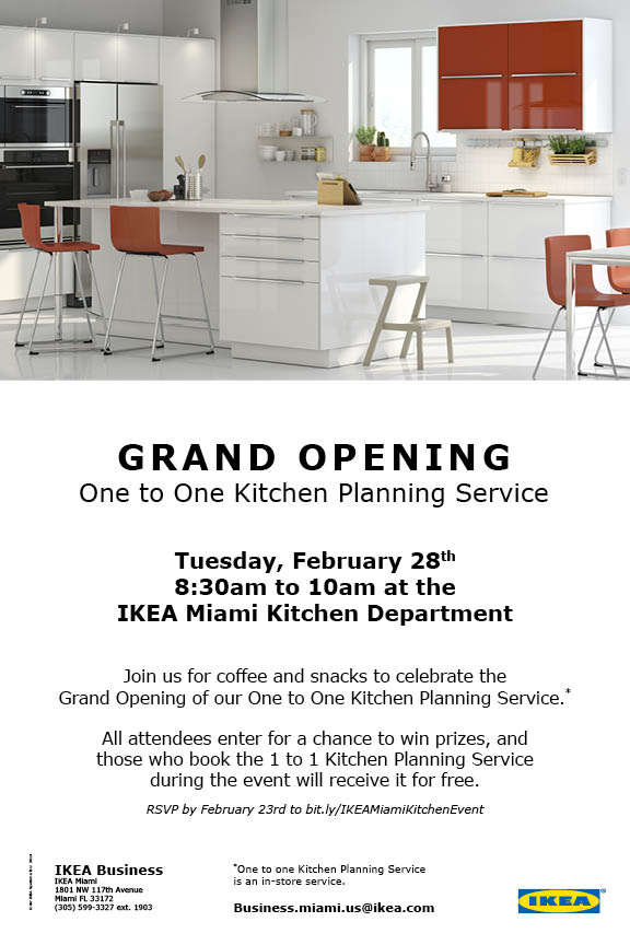 Grand opening one to one kitchen planning service for Ikea driving directions