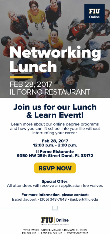 Fiu Online Networking Lunch At Ilforno Restaurant February 28th