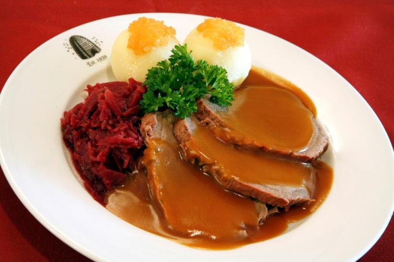 plated sauerbraten