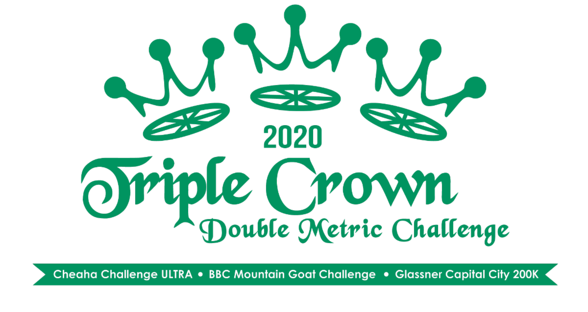 Triple Crown Double Metric Century Challenge 2020 with Ride Names banner