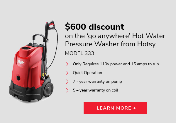 $600 discount on the 'go anywhere' hot water pressure washer from Hotsy