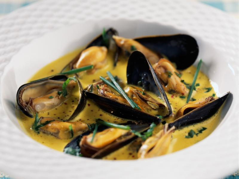 French Mussel Soup _Mouclade_ at this month_s French Regional Gourmet Dinner Night with Chef Alain Hugard_ Newport Cooks_ RI