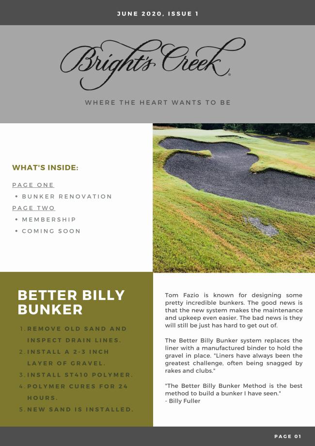 Billy Bunker Membership Updates Teaser for next Newsletter