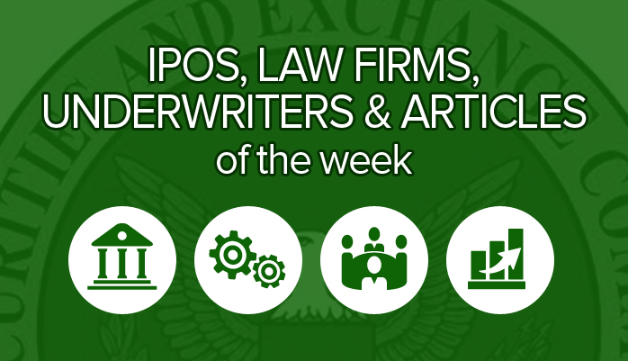 October 15 - 19: Top Securities Law Firms and their IPO Transactions