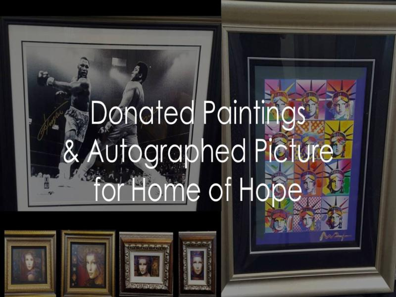 Donated paintings and autographed picture