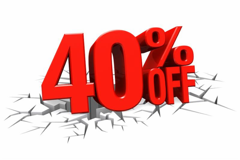 3D render red text 40 percent off on white crack hole background with reflection.