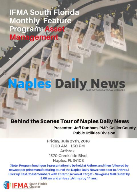Jul 27  IFMA Monthly Feature Program: Naples Daily News!