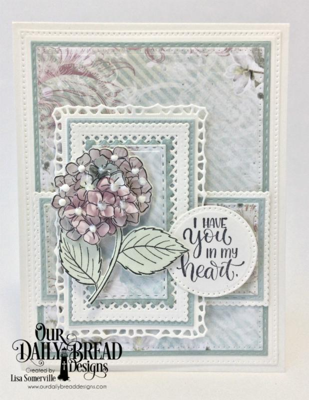 Our Daily Bread Designs Stamp/Die Duos: In My Heart, Paper Collection: Romantic Roses, Custom Dies: Pierced Rectangles, Double Stitched Rectangles, Pierced Circles, Lavish Layers, Filigree Frames
