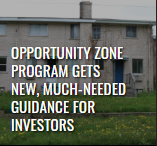 """Leading Edge digital magazine summer 2019 article thumbnail of a deserted tan building with various window, titled """"opportunity zone program gets new, much-needed guidance for investors"""""""