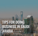 """Leading edge digital magazine summer 2019 article thumbnail of a city skyline with tall buildings, titled """"tips for doing business in saudi arabia"""""""