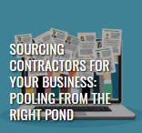 """Leading Edge digital magazine summer 2019 article thumbnail image of papers coming out of a laptop, titled """"sourcing contractors for your business: pooling from the right pond"""""""