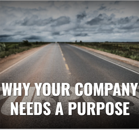 """Leading Edge Digital Magazine Summer 2019 feature article thumbnail image of a grey deserted road, with the title """"why your company needs a purpose"""""""
