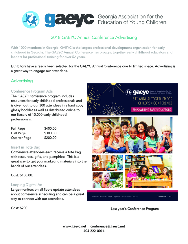 2018 Gaeyc Conference Advertising