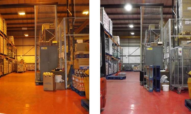 Before and after LED warehouse light conversion
