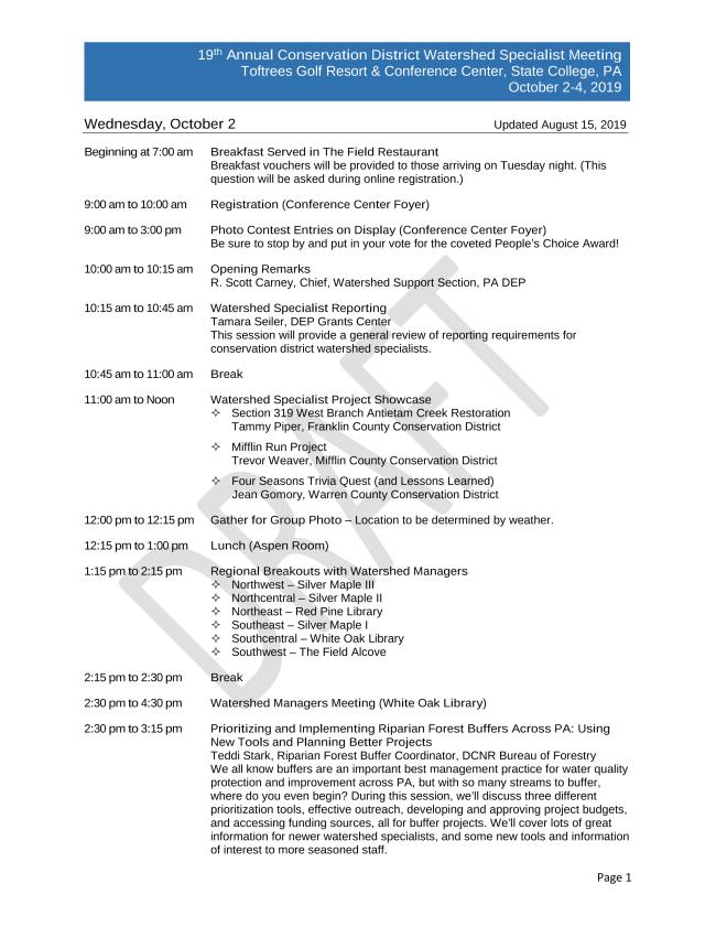 Draft 2019 CDWS Meeting Agenda