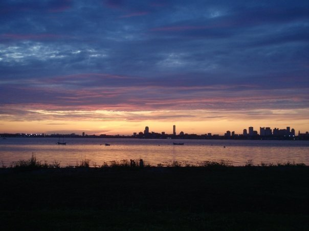 Sunset over Boston from Thompson Island