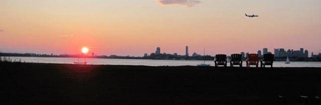 Sunset over Boston from Thompson Island