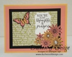 Duchess of Design thoughts and prayers butterfly and flowers card
