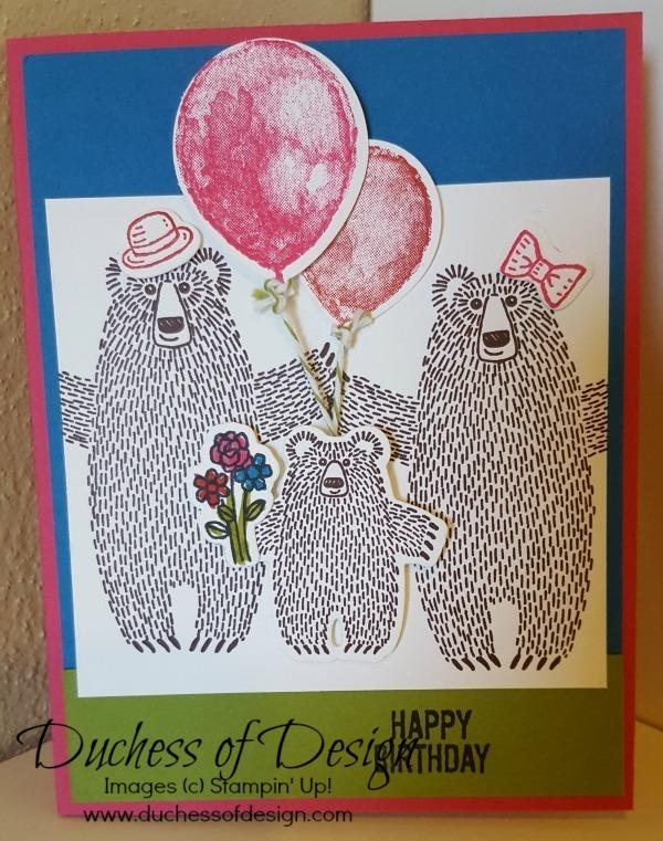 Duchess of Design brights Bear Hugs family Birthday card