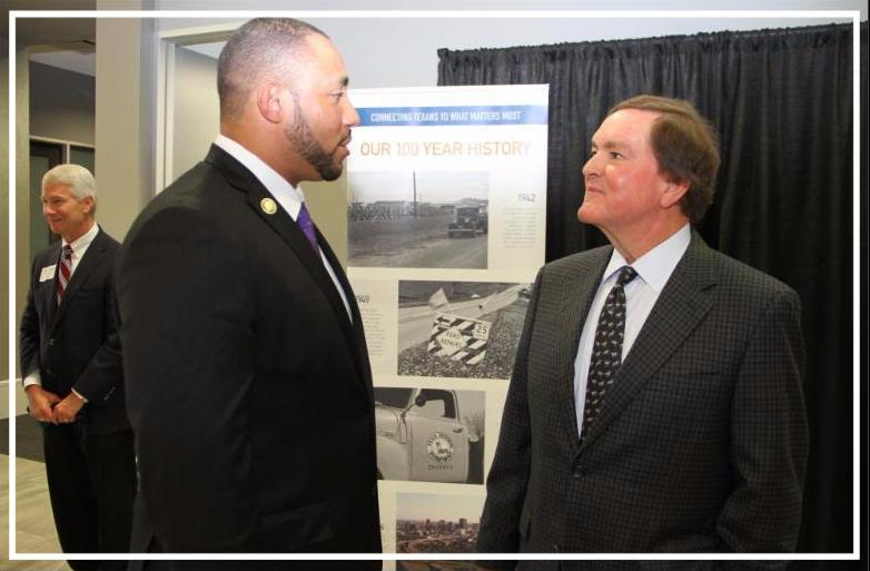 Bexar County Commissioner Calvert with Transportation Commission Chair Bruce Bugg
