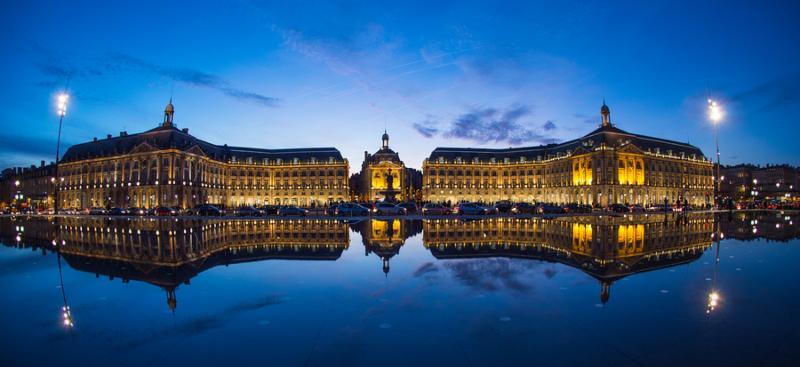 Bordeaux France Illuminated Reflection In Water At Place De La Bourse Against Sky