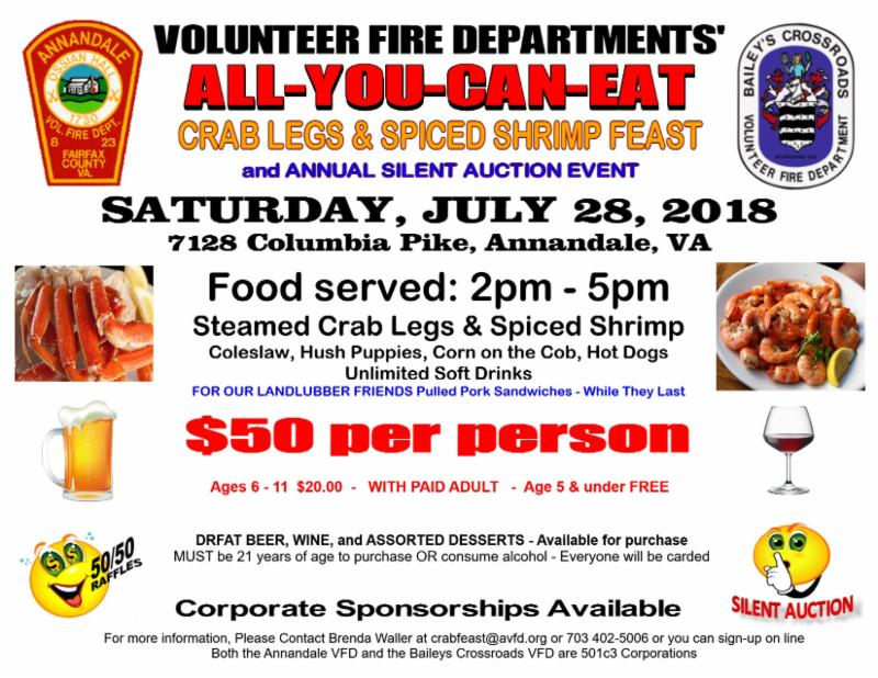 Annandale & Baileys Crossroads VFD JULY 28, 2018 CRABLEGS