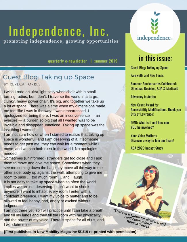 Independence, Inc. summer 2019 newsletter