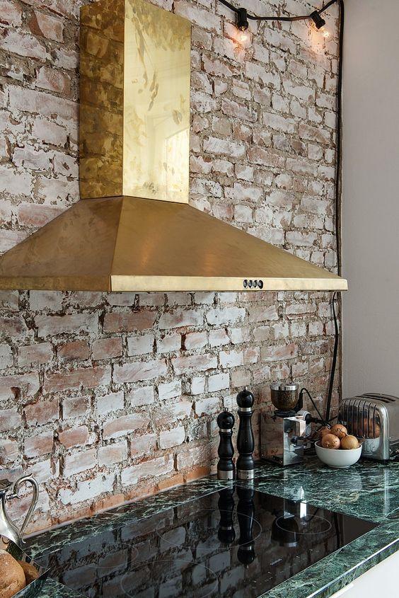 Brass Range Hood Kitchen