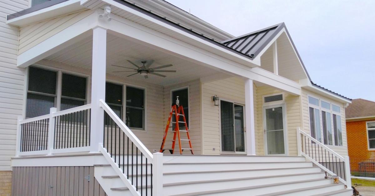 Hatchett Sunroom Addition Maintenance-Free PVC Lattice Outdoor Storage