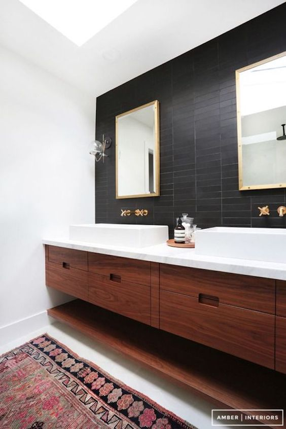 New Bathroom Trend Statement Wall of Tile or Wallpaper