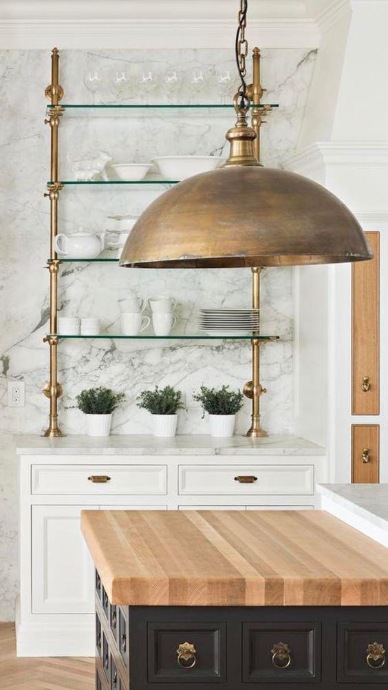 Brass Open Shelving Kitchen