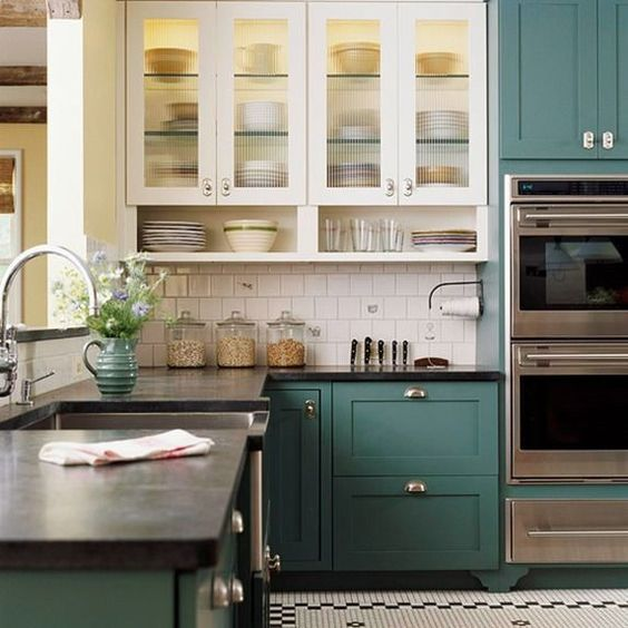 Kitchen Cabinet Trends, White Uppers, Colored Lowers